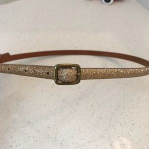 Madewell sparkle gold glitter thin leather belt